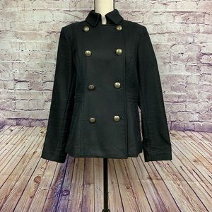 Banana Republic Black Button Front Military Jacket